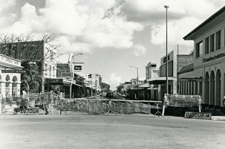 Smith Street Mall under construction.