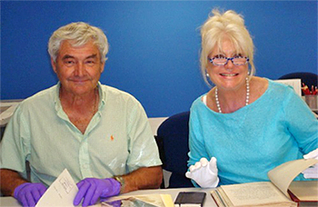 Di Morrisey and Boris Janijc in the Northern Territory Archives Service search room