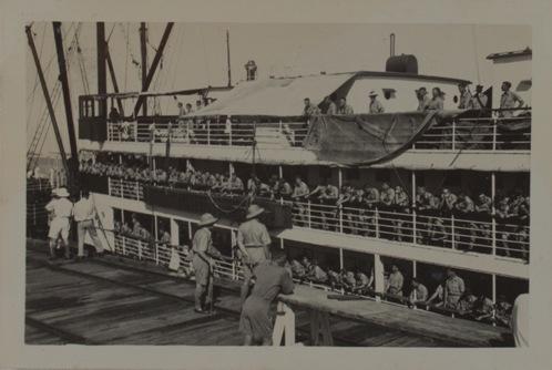 Darwin Mobile Force arriving in Darwin by ships, 1938