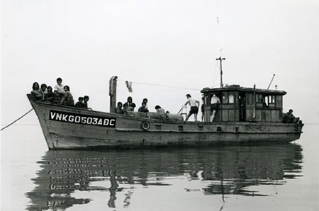 Vietnamese refugee boat.