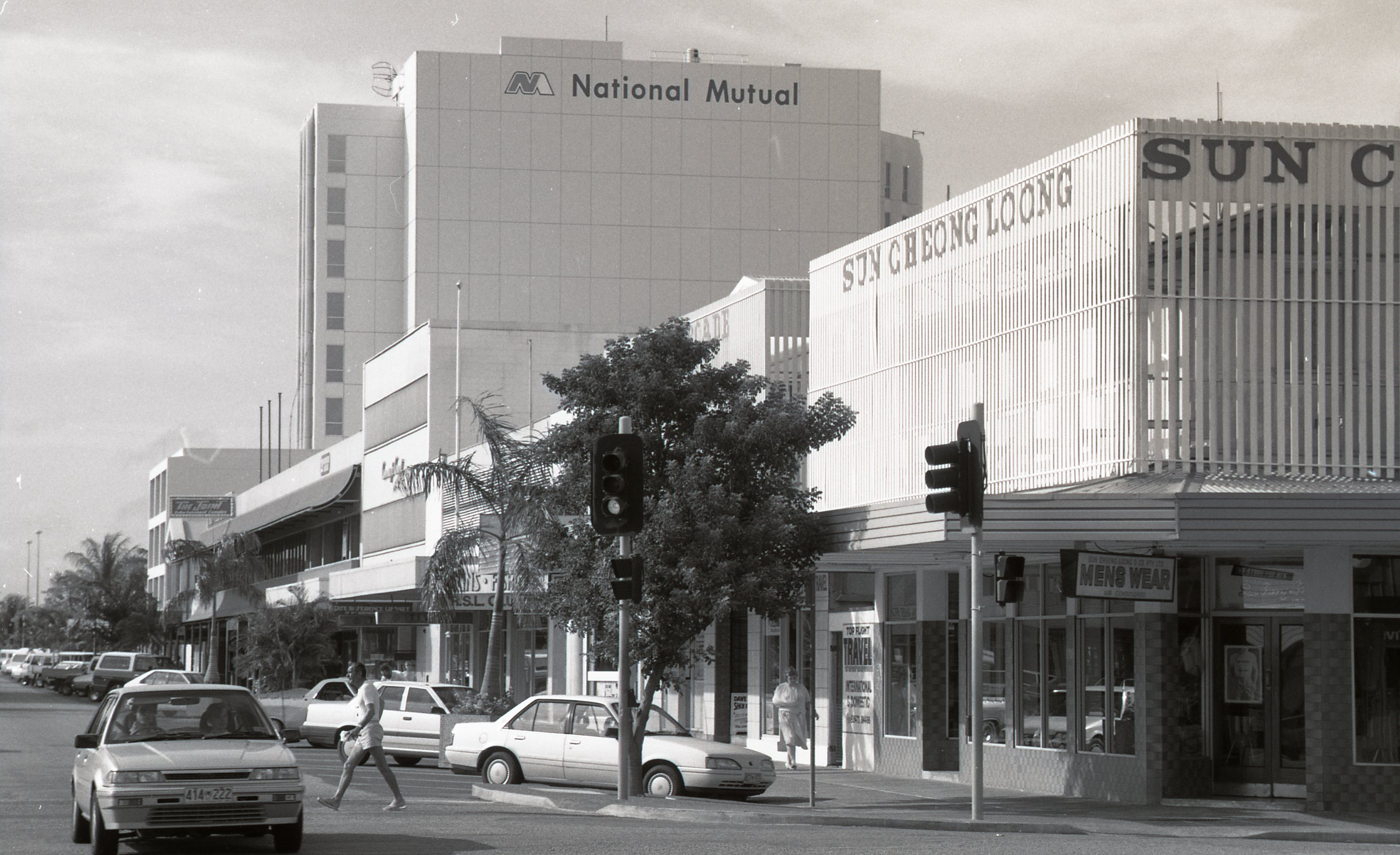 Corner of Cavenagh and Knuckey Streets, 19 April 1989<br />Image courtesy of Library & Archives NT,  Department of the Chief Minister, NTRS 3823 P1, Box 11, BW2811, Image 10