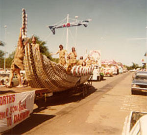 Woolworths float in the Bougainvillea Festival parade, Herbert Street. 1979.