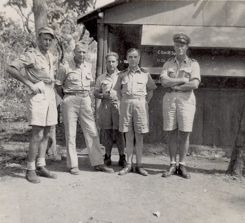 Dutch officers standing outside 18 Squadron office, 1944