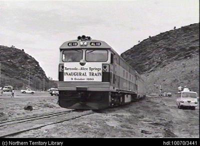 Standard gauge line opened from Tarcoola to Alice Springs