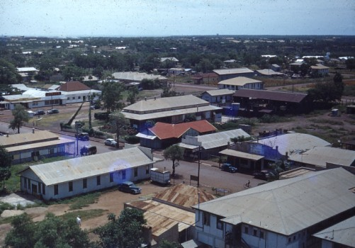 Darwin from Tower (view from the water tower behind the Vic Hotel, looking west along the present day Smith Street Mall), c1947