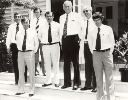 Members of Executive 1977. Front left to right: Roger Steele, Jim Robertson; middle left to right: Nick Dondas, Paul Everingham, HHA John England, Ian Tuxworth; rear: Marshall Perron