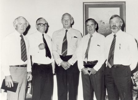 Swearing the Chief Justice and Judges of the Northern Territory Supreme Court on the transfer of responsibility of the Supreme Court from the Commonwealth to the Northern Territory, Government House Darwin, 1 October 1979; left to right: The Hon Mr Justice Toohey – Aboriginal Land Commissioner, Chief Justice The Hon Mr Justice Forster, HHA Mr John England, The Hon Mr Justice Muirhead, The Hon Mr Justice Gallop
