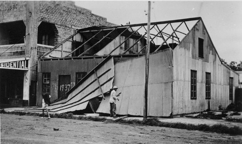 Damaged buildings, Kafcaloudes Residential, 1937 cyclone, Darwin (Cavenagh Street, in the vicinity of the Cavenagh Hotel), 1937