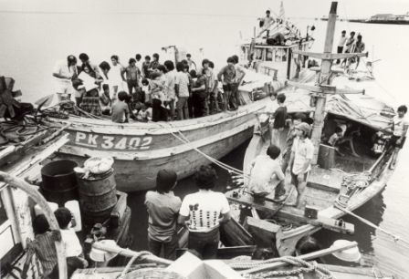 Two Vietnamese boats and refugees in Darwin Harbour, nd