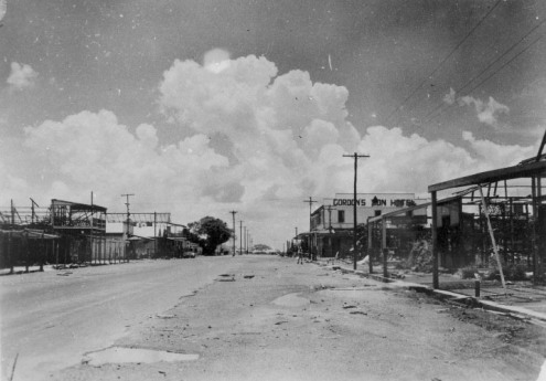 Cavenagh Street, looking south east, Tree of knowledge on left, 1942