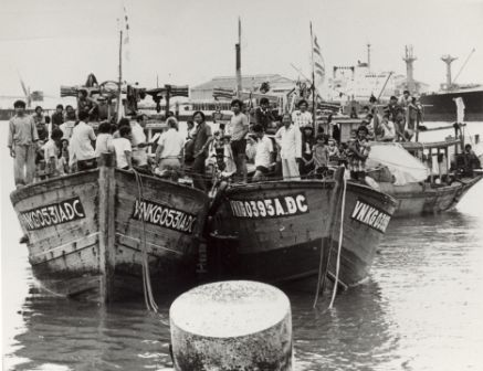 Three Vietnamese boats and refugees in Darwin Harbour, nd