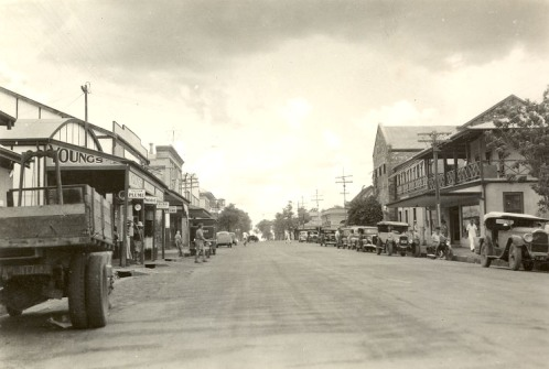 Smith Street (main street) looking towards the Harbour, Darwin, late 1930s