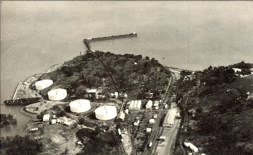 Aerial view of Darwin Harbour with oil tanks