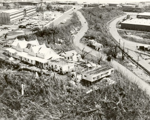 Darwin after Cyclone Tracy, view of Government Residency, Government Administration  Buildings and Stokes Hill area, 1974